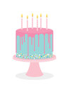 Birthday cake with frosting and burning candles