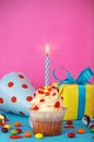 Birthday cake with gift box Royalty Free Stock Image