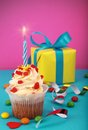 Birthday cake with gift box Royalty Free Stock Photography