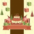 Birthday Cake and Gifts Royalty Free Stock Images
