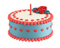 Birthday cake with heart flower and candel isolated on white rendering Stock Photography