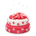 Birthday cake homemade with stars isolated on white Royalty Free Stock Photos