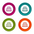 Birthday cake icons. Party signs. Colorful web button with icon