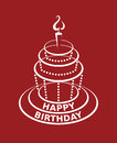 Birthday cake monochrome design of Royalty Free Stock Photo