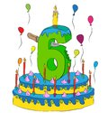 Birthday Cake With Number Six Candle, Celebrating Sixth Year of Life, Colorful Balloons and Chocolate Coating