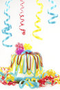 Birthday Cake with Party Ribbons Royalty Free Stock Photos