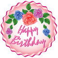 Birthday cake with roses Stock Photos