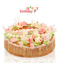Birthday cake with roses on a white background Royalty Free Stock Photography
