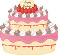 Birthday cake strawberry color candles isolated white background vector illustration Stock Photography