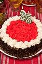 Birthday cake for twenty five year old Royalty Free Stock Photo