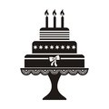 Birthday cake vector illustration of black silhouette icon Royalty Free Stock Photography