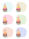 Birthday cakes set of on color backgrounds Stock Photo