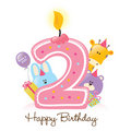 Birthday Candle and Animals Isolated Royalty Free Stock Photography