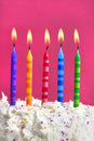 Birthday candles on a cake Stock Image