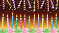 Birthday candles on cake and streamers Royalty Free Stock Photos