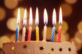 Birthday candles close up bokeh background Royalty Free Stock Photo
