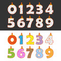 Birthday candles set of numbers in different colors Royalty Free Stock Photos