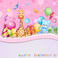Birthday card with balloons gifts and candies Stock Photo