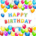 Birthday card with balloons and streamers on white background