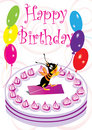 Birthday Card With Bee And Balloon_eps Stock Photo