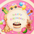 Birthday card with birthday cake balloons and gifts Royalty Free Stock Photos