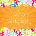 Birthday Card With Candy Royalty Free Stock Image