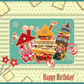 Birthday card with candy houses Stock Photos