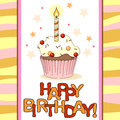 Birthday card with cartoon cupcake and small candle Stock Photography