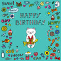 Birthday card with cat vector doodle cute white Stock Photo