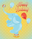 Birthday card circus elephant Royalty Free Stock Photography
