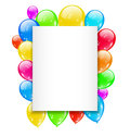 Birthday card with colorful balloons with space fo illustration for text vector Stock Photo