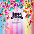 Birthday card with colorful curling ribbons
