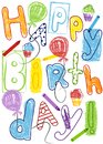 Birthday card with colorful lettering, balloons, cupcakes and crayons. Vector Illustration. Royalty Free Stock Photo