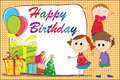 Birthday card with cute cartoon boys girl Stock Image