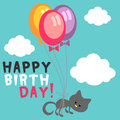Birthday card cute kitty Royalty Free Stock Images