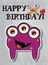 Birthday card with cute monsters Stock Photography