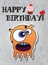 Birthday card with cute monsters Royalty Free Stock Images