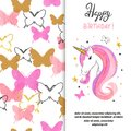 Birthday card design with beautiful unicorn for little girl