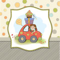 Birthday card funny little girl format Royalty Free Stock Image