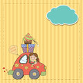 Birthday card funny little girl vector format Royalty Free Stock Image