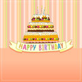 Birthday card greeting big cake with burning candles on stripe background Royalty Free Stock Image