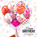Birthday card with hand holds colorful balloons. Confetti, stars, ribbon and bow on dotted background.  Vector. Royalty Free Stock Photo
