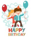 Birthday card with happy kids couple holding balloons Royalty Free Stock Photos