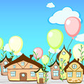 Birthday card with houses cartoon greeting fairy tale town and balloons Stock Images
