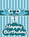 Birthday card illustrated birds and birthday gifts