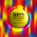Birthday card with neon lights and badge for your Royalty Free Stock Photo