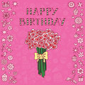 Birthday card pink doodle with bouquet of hearts Stock Image