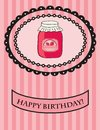 Birthday card with strawberry jam. Vector. Stock Image