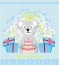 Birthday card, sweet teddy bear holding a birthday cake