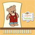 Birthday card with teddy bear Stock Photo